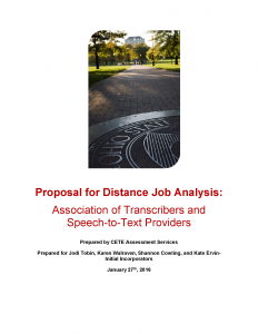 "Cover page of document titled, ""Distance Job Analysis Proposal"""