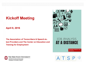 "Cover page from document titled, ""Kickoff Meeting CETE ATSP"""