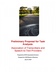 Cover page of preliminary proposal for task analysis